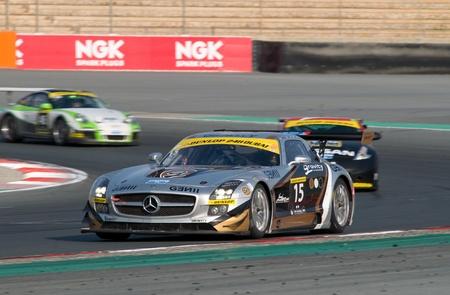 gt3: DUBAI - JANUARY 13: Car 15, a Mercedes SLS AMG GT3, participating in the 2012 Dunlop 24 Hour Race at Dubai Autodrome on January 13, 2012.