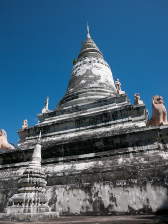 buddhist stupa: Stupa at Wat Phnom in Phnom Penh, the temple that gave the Cambodian capital its name. Stock Photo