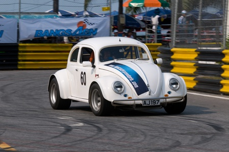BANG SAEN - FEBRUARY 5: Vintage Volkswagen Beetle racing during Bang Saen Speed Festival in Thailand on February 5, 2012.