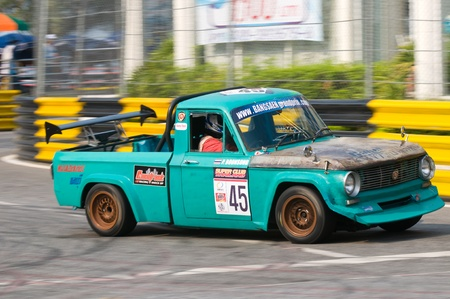 BANG SAEN - FEBRUARY 5: Vintage Mazda pickup truck racing during Bang Saen Speed Festival in Thailand on February 5, 2012. Stock Photo - 12160540