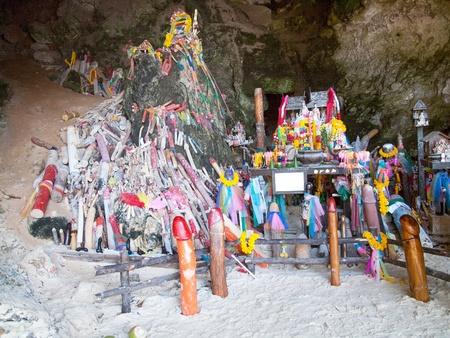 phallus: Shrine with Phalluses in the Princess Cave at South Railay beach in Krabi, Thailand.