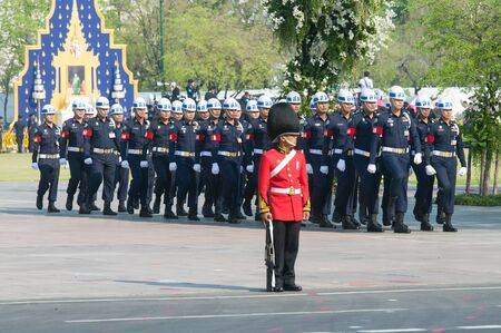 bejaratana: BANGKOK - APRIL 9: Soldiers on guard duty at Sanam Luang during the royal funeral of Her Royal Highness Princess Bejaratana on April 9, 2012 in Bangkok, Thailand.
