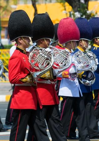 bejaratana: BANGKOK - APRIL 9: Military brass band playing during the royal funeral of Her Royal Highness Princess Bejaratana on April 9, 2012 in Bangkok, Thailand.