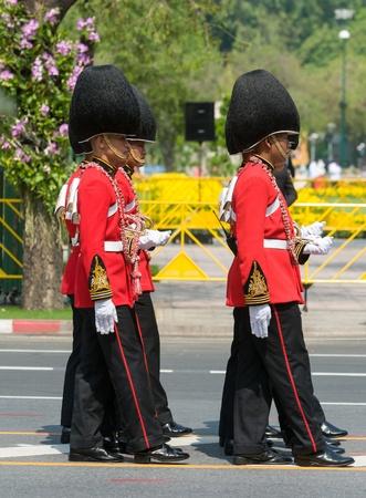 bejaratana: BANGKOK - APRIL 9: Soldiers in parade uniforms marching during the royal funeral of Her Royal Highness Princess Bejaratana on April 9, 2012 in Bangkok, Thailand. Editorial