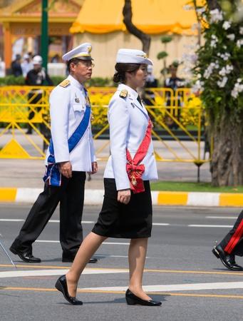 bejaratana: BANGKOK - APRIL 9: Prime Minister Yingluck Shinawatra taking part in the parade during the royal funeral of Her Royal Highness Princess Bejaratana on April 9, 2012 in Bangkok, Thailand.