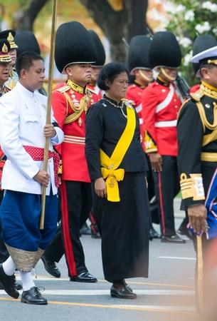 bejaratana: BANGKOK - APRIL 9: Princess Maha Chakri Sirindhorn taking part in the parade during the royal funeral of Her Royal Highness Princess Bejaratana on April 9, 2012 in Bangkok, Thailand.