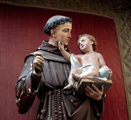 franciscan: Statue of Anthony Padua with the infant Jesus Christ Stock Photo