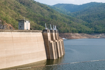 The Bhumibol Dam in Thailand. The dam is situated on the Ping River and has a capacity of 13,462,000,000 cubic meter. photo