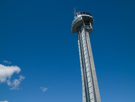 The Air Traffic Control Tower at Gardermoen Airport in Oslo, Norway, somewhat tilted. photo