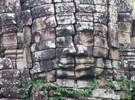 12th century: Stone face of Ta sok temple at Banteay Chhmar in Banteay Meanchey Province, Northwestern Cambodia. The temple was built during late 12th and early 13th century by the Angkor King Jayavarman VII.