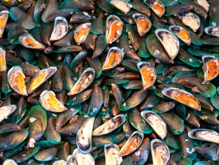 chonburi: fresh mussels at a seafood market in Naklua, Thailand Stock Photo