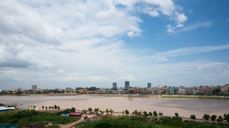 Phnom Penh, the capital of Cambodia, seen across the Tonle Sap River.