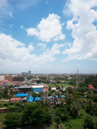 penh: Suburbs of Phnom Penh, the capital of Cambodia, on the peninsula between Tonle Sap and Mekong Rivers. Stock Photo