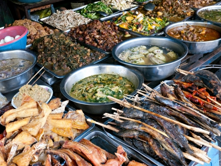 Fish and other Cambodian food at the Kandal Market in Phnom Penh.  Stock Photo