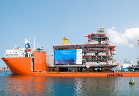 LAEM CHABANG - OCTOBER 3: A 6,000 ton module built by Aibel in Thailand for Statoil and the Gudrun Drilling Platform in the North Sea, ready for shipment in Laem Chabang, Thailand on October 3, 2012.