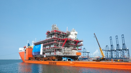 module: LAEM CHABANG - OCTOBER 3: A 6,000 ton module built by Aibel in Thailand for Statoil and the Gudrun Drilling Platform in the North Sea, ready for shipment in Laem Chabang, Thailand on October 3, 2012. Editorial