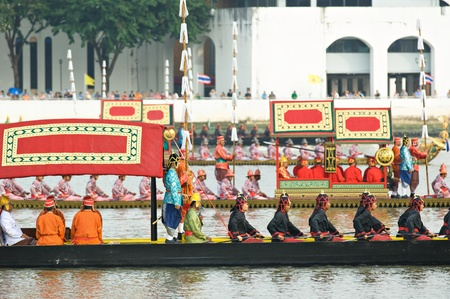 BANGKOK - NOVEMBER 2: Boats participating at a dress rehearsal for the Royal Barge Procession to celebrate the 85th birthday of King Bhumibol Adulyadej in Bangkok, Thailand on November 2, 2012.