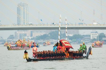 BANGKOK - NOVEMBER 6: Boats participating at a dress rehearsal for the Royal Barge Procession to celebrate the 85th birthday of King Bhumibol Adulyadej in Bangkok, Thailand on November 6, 2012. Stock Photo - 16284638