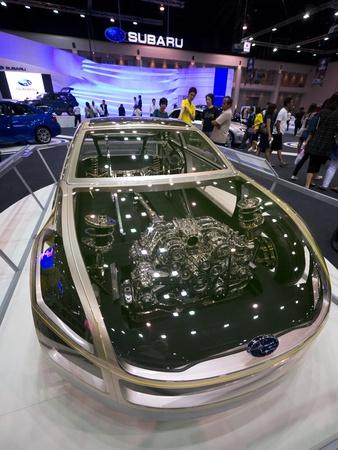 subaru: BANGKOK - DECEMBER 4: Subaru shows a transparent version of their BRZ sports car at the annual Motor Expo at Impact Challenger on December 4, 2012 in Bangkok, Thailand.