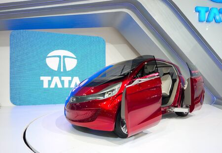 megapixel: BANGKOK - DECEMBER 4: Tata shows their Megapixel electric concept vehicle with petrol engine for charging at the annual Motor Expo at Impact Challenger on December 4, 2012 in Bangkok, Thailand.