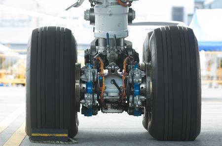 Rear landing gear of Boeing 787 wide-body airplane