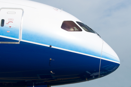 boeing: Front profile and cockpit windows of wide-body airplane