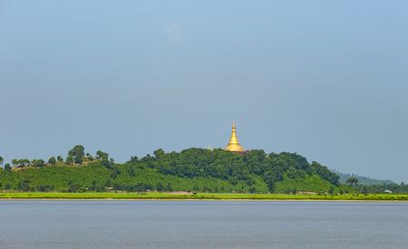 U Rit Taung Pagoda by the Kaladan River in the Rakhine State of Myanmar.