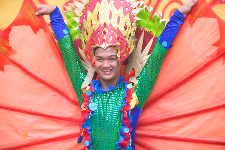 17th: General Santos City, The Philippines - September 6, 2015: Participant at the final street parade during the 17th Annual Gensan Tuna Festival 2015.