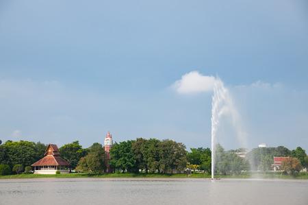 yan: Temple buildings along the lake at Wat Yansangwararam Wat Yan near Pattaya in Thailand.