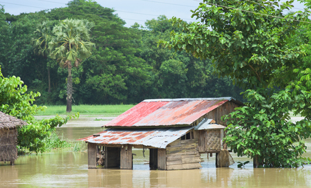 inundated: Flooded village near Kyaunggon in the Ayeyarwady Division of Myanmar during the aftermath of the unusually strong monsoon flooding lasting from July to September of 2015.