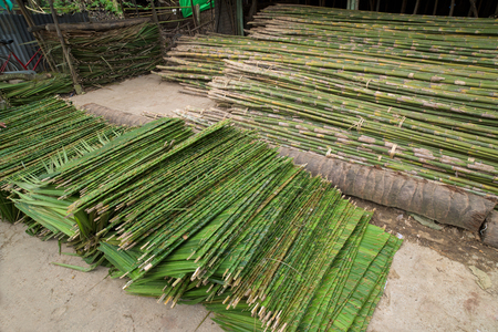 construction materials: Construction materials, palm leaves and bamboo sticks, for house building in Labutta Township, Ayeyarwady Division of Myanmar. Stock Photo