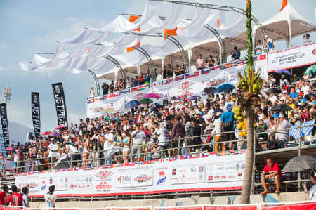 jet ski: Pattaya, Thailand - December 6, 2015: The grandstand at the International Jet Ski World Cup at Jomtien Beach, Pattaya, Thailand. Editorial