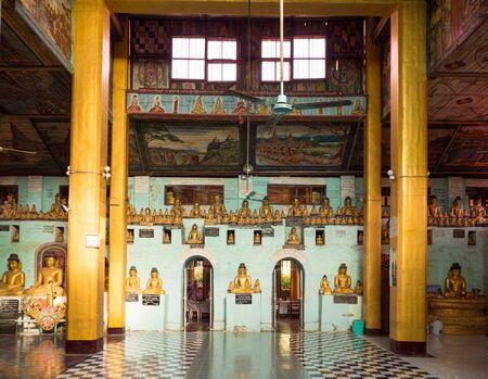 dozens: Interior with dozens of Buddha images at the Shite-thaung Temple in Mrauk-U, Rakhine State, Myanmar