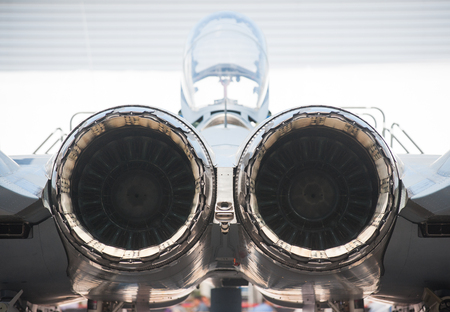 twin engine: Rear view of twin engine, supersonic fighter jet. Stock Photo