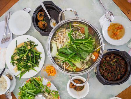 Vietnamese food at a lunch table in Vietnam Reklamní fotografie