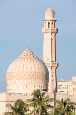 sultan: Dome and minaret of The Sultan Qaboos Grand Mosque in Salalah, Dhofar Region of Oman.