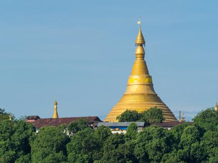 U Rit Taung Pagoda at Ponnagyun along Kaladan River in the Rakhine State of Myanmar.