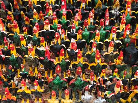 would: Rooster figurines at Wat Khai Bang Kung in Thailand. The legend is that Thai Prince Naresuan bet with a Burmese prince that Ayutthaya would be freed from Burmese rule if Naresuans rooster emerged victorious in the cock fight, which it did.