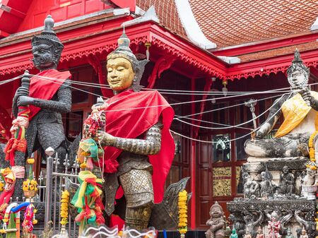 Mythological figures at Wat Chulamanee in Amphawa, Samut Songkhram Province, Thailand.