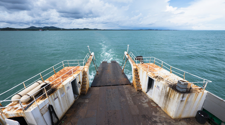 water transportation: The ferry to Koh Chang in Trat Province in Thailand. Photo taken rearward with the mainland on the horizon.
