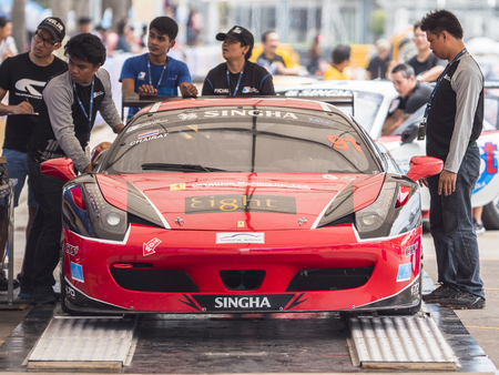 Bang Saen, Thailand - June 28, 2017: The Ferrari 458 of Chairat Sangtongat the weight control during Thailand Super Series at Bang Saen Street Circuit in Bang Saen, Chonburi, Thailand.
