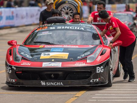 Bang Saen, Thailand - June 28, 2017: The Ferrari 458 of Thanavud Bhirombhakdi being pushed back to the pit lane after a practice session during Thailand Super Series at Bang Saen Street Circuit in Bang Saen, Chonburi, Thailand.