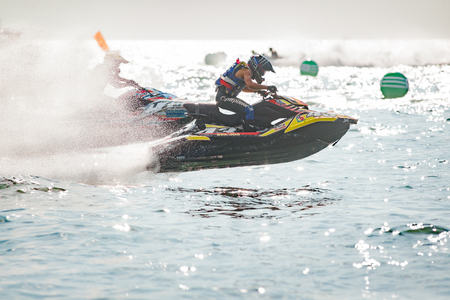 Pattaya, Thailand - December 9, 2017: Thipmonghon Khemsri and Permphon Teerapatpanich, both from Thailand, competing in the Pro Runabout 1100 Superstock Class of the International Jet Ski World Cup at Jomtien Beach, Pattaya, Thailand. Editorial
