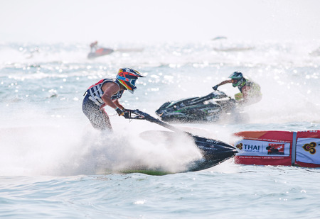 Pattaya, Thailand - December 9, 2017: Jeremy Poret from France competing in the Pro Ski GP Class of the International Jet Ski World Cup at Jomtien Beach, Pattaya, Thailand. Editorial