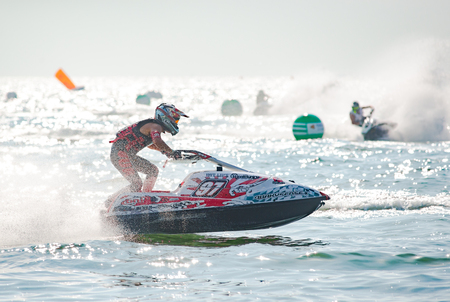 Pattaya, Thailand - December 9, 2017: Hideyuki Kurahashi from Japan competing in the Pro Ski GP Class of the International Jet Ski World Cup at Jomtien Beach, Pattaya, Thailand. Editorial