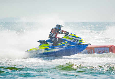 Pattaya, Thailand - December 9, 2017: Mitchell Casey from Australia competing in the Pro-Am Runabout Stock Class of the International Jet Ski World Cup at Jomtien Beach, Pattaya, Thailand.