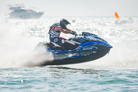 Pattaya, Thailand - December 9, 2017: Troy Snyder from USA competing in the Pro-Am Runabout Stock Class of the International Jet Ski World Cup at Jomtien Beach, Pattaya, Thailand. Editorial