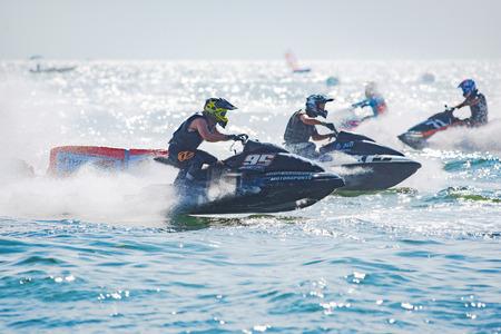 Pattaya, Thailand - December 9, 2017: Nontawat Phimcharoen and Ekachon Kingchansilp, both from Thailand, competing in the Pro Sport GP Class of the International Jet Ski World Cup at Jomtien Beach, Pattaya, Thailand. Editorial