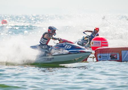 Pattaya, Thailand - December 9, 2017: Surachet Chaisiriwichian from Thailand competing in the Pro Sport GP Class of the International Jet Ski World Cup at Jomtien Beach, Pattaya, Thailand.