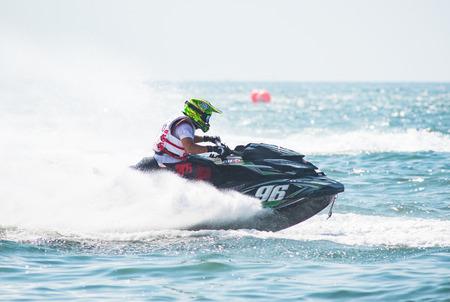 Pattaya, Thailand - December 9, 2017: Championship winner Masayuki Chigira from Japan, competing in the Pro-Am Runabaout Open Class of the International Jet Ski World Cup at Jomtien Beach, Pattaya, Thailand. Editorial